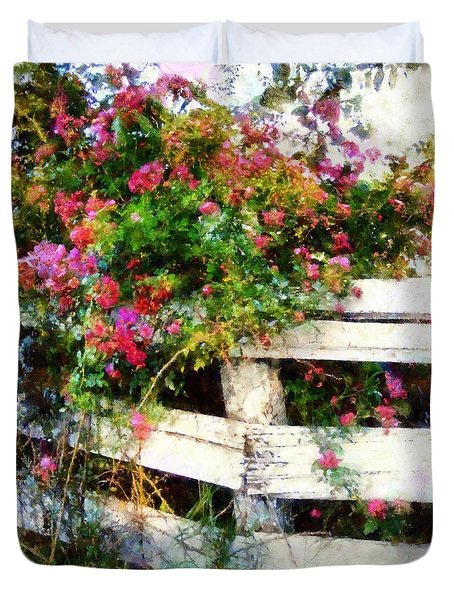 Country Rose On A Fence 3 Duvet Cover by Janine Riley
