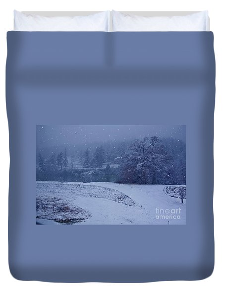Duvet Cover featuring the photograph Country Snowstorm Landscape Art Prints by Valerie Garner