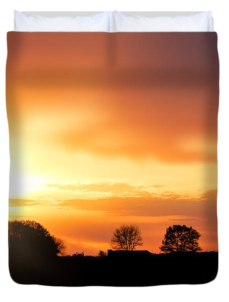 Country Sunset Silhouette Duvet Cover