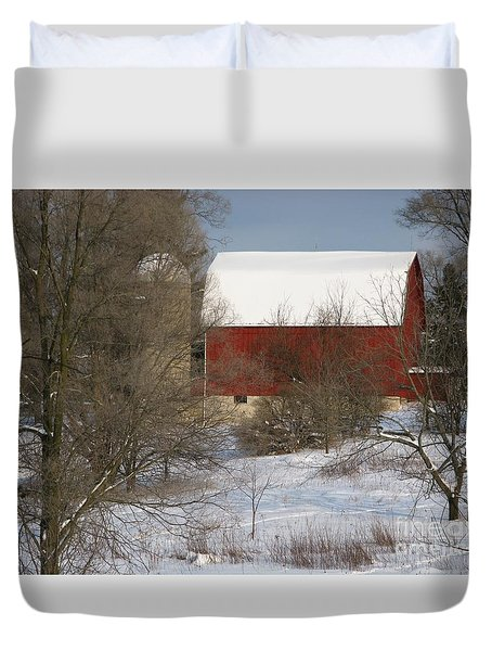 Duvet Cover featuring the photograph Country Winter by Ann Horn