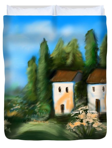 Duvet Cover featuring the digital art Countryside by Christine Fournier