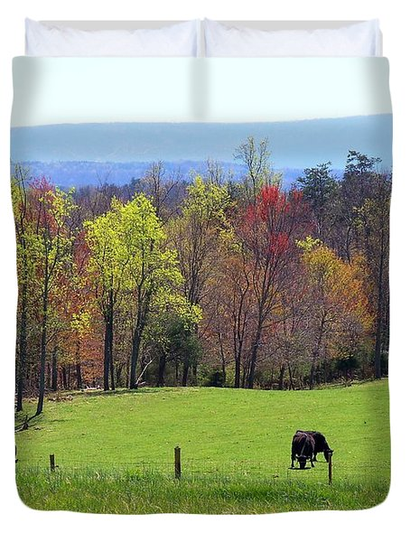 Duvet Cover featuring the photograph Countryside In Spring by Kathryn Meyer