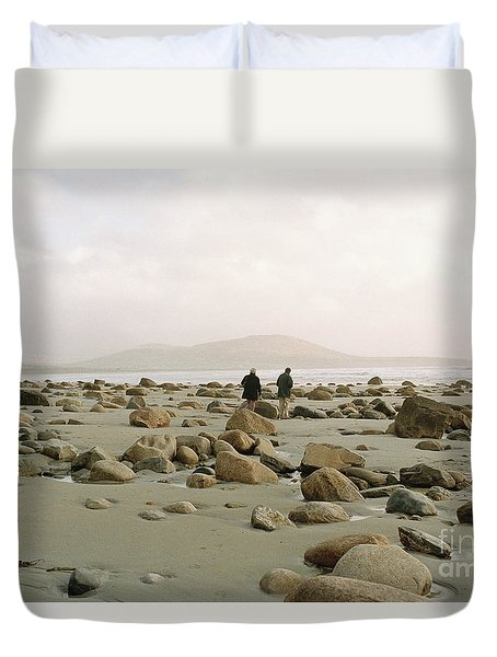 Duvet Cover featuring the photograph Couple And The Rocks by Rebecca Harman