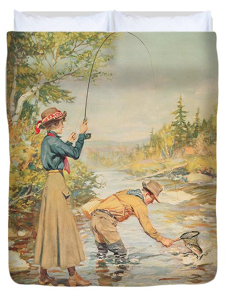 Couple Fishing On A River Duvet Cover by Anonymous