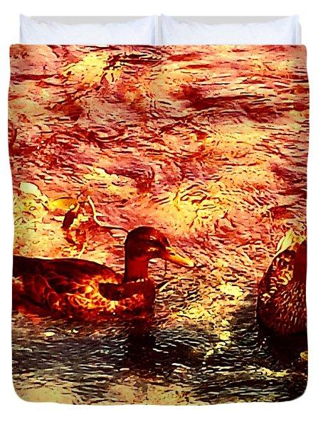 Couple Of Ducks Duvet Cover by Jason Michael Roust