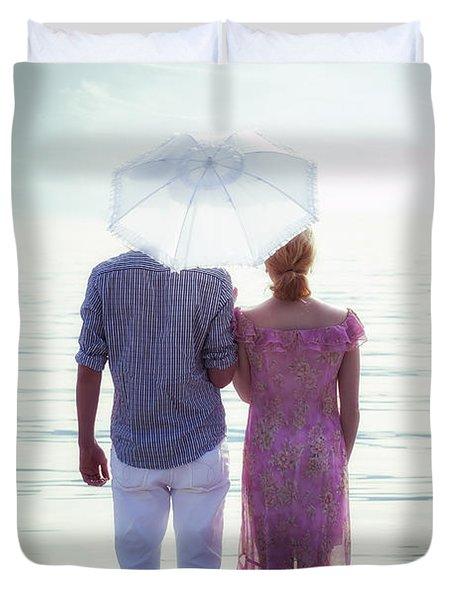 Couple On The Beach Duvet Cover by Joana Kruse