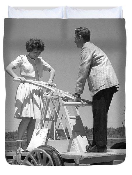 Couple Powers A Railroad Cart Duvet Cover
