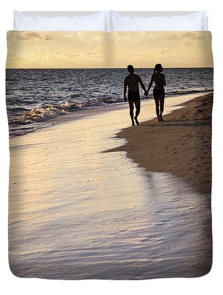 Couple Walking On A Beach Duvet Cover by Elena Elisseeva