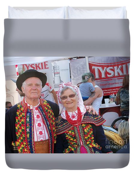 Couples In Polish National Costumes Duvet Cover by Lingfai Leung