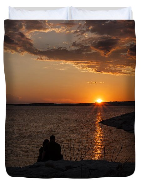 Couple's Sunset In The Desert Duvet Cover