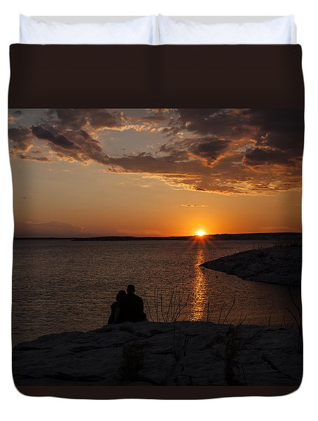 Couple's Sunset In The Desert Duvet Cover
