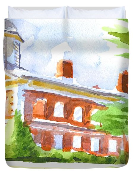 Courthouse In Summery Sun Duvet Cover