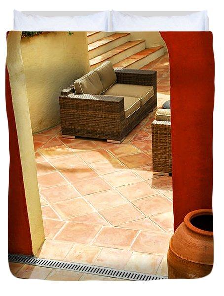 Courtyard Of A Villa Duvet Cover by Elena Elisseeva