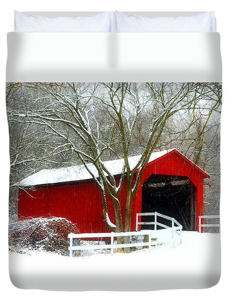 Cover Bridge Beauty Duvet Cover by Peggy Franz