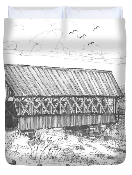 Covered Bridge Coventry Vermont Duvet Cover