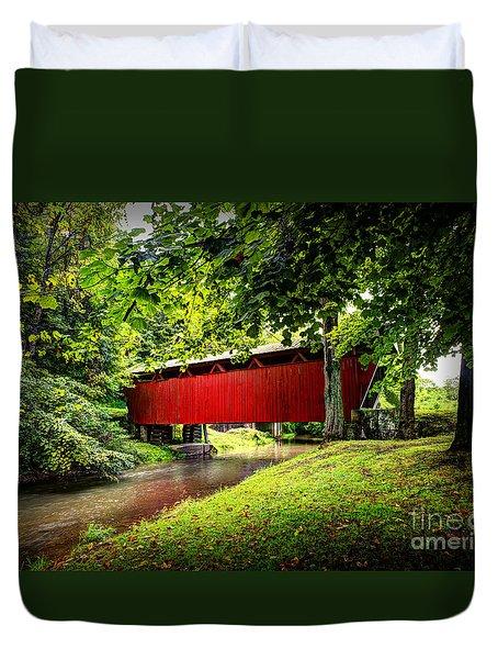Covered Bridge In Pa Duvet Cover by Dan Friend