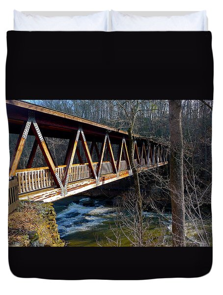Covered Bridge In Roswell Duvet Cover