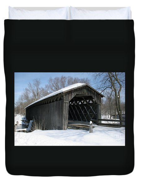 Covered Bridge In Winter Duvet Cover