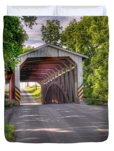 Duvet Cover featuring the photograph Covered Bridge by Jim Thompson