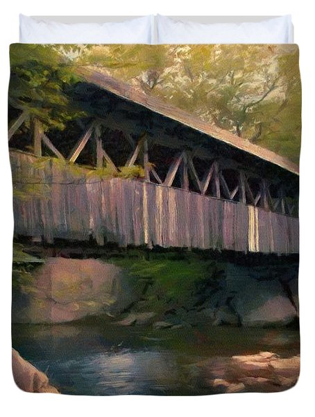 Duvet Cover featuring the painting Covered Bridge by Jeff Kolker
