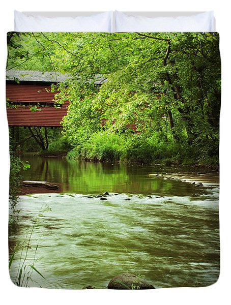 Covered Bridge Over French Creek Duvet Cover