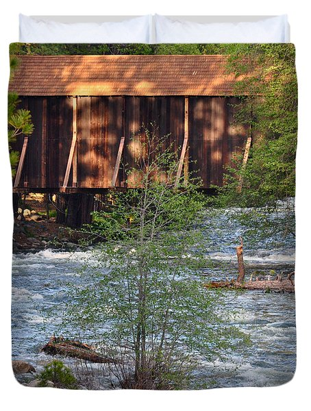 Covered Bridge Over The River Duvet Cover