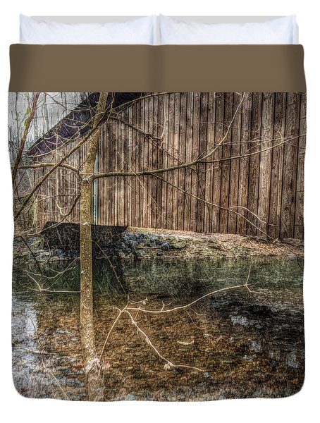 Duvet Cover featuring the photograph Covered Bridge Snowy Day by Susan Maxwell Schmidt