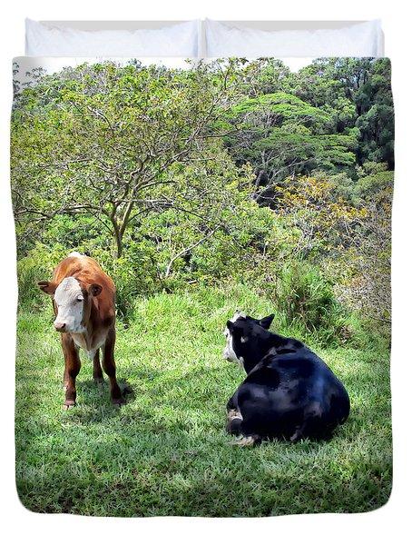Duvet Cover featuring the photograph Cow 4 by Dawn Eshelman