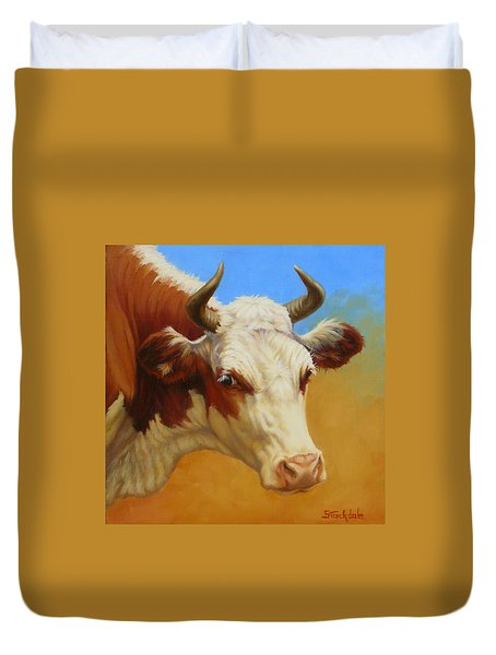 Duvet Cover featuring the painting Cow Face by Margaret Stockdale
