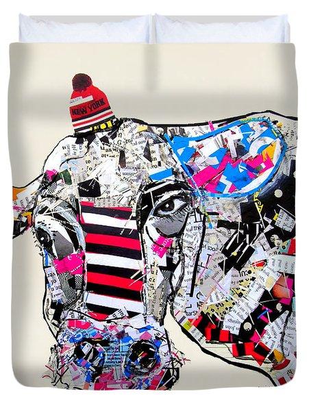 Cow In New York Duvet Cover