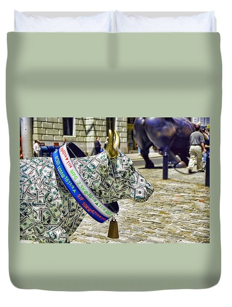 Cow Parade N Y C  2000 - Live Stock Cow Duvet Cover by Allen Beatty