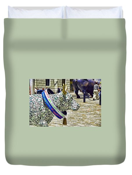 Cow Parade N Y C  2000 - Live Stock Cow Duvet Cover