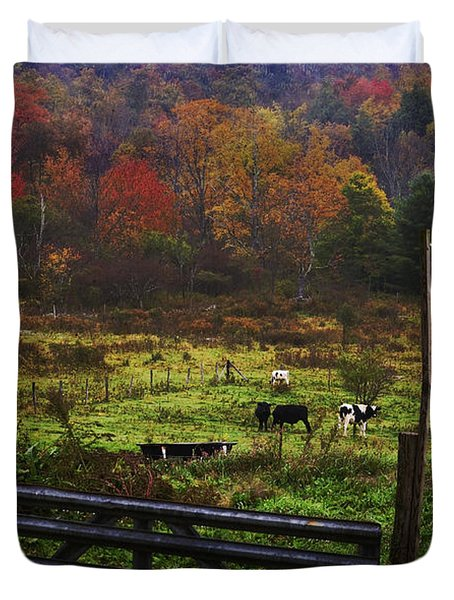 Duvet Cover featuring the photograph Cow Pasture In Autumn by Debra Fedchin