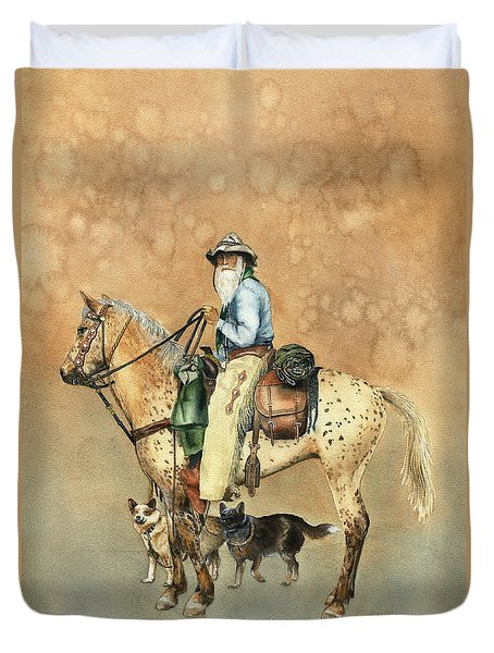 Cowboy And Appaloosa Duvet Cover by Nan Wright