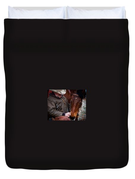 Duvet Cover featuring the photograph Cowboy And His Horse by Steven Reed
