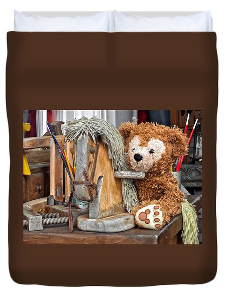 Duvet Cover featuring the photograph Cowboy Bear by Thomas Woolworth