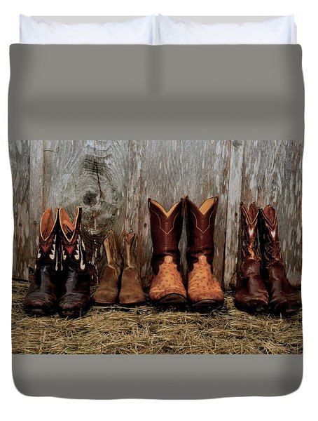 Cowboy Boots And Wood Duvet Cover