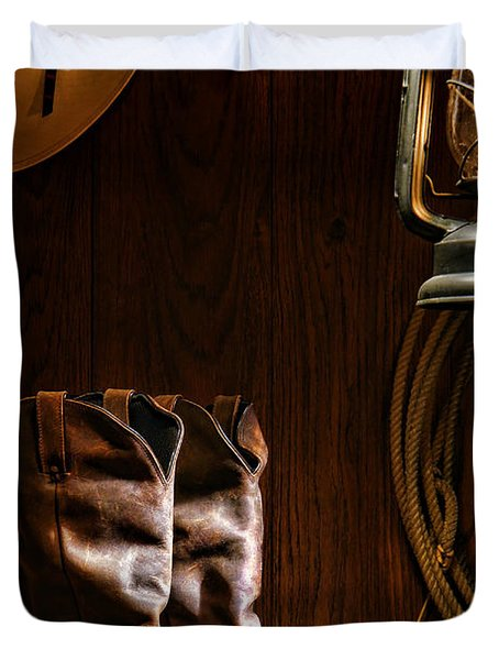Cowboy Boots At The Ranch Duvet Cover