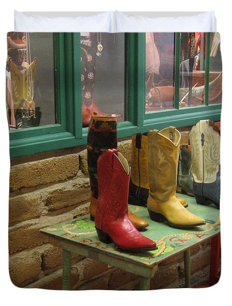 Duvet Cover featuring the photograph Cowboy Boots by Dora Sofia Caputo Photographic Art and Design
