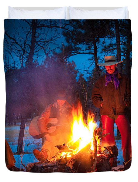 Cowboy Campfire Duvet Cover by Inge Johnsson