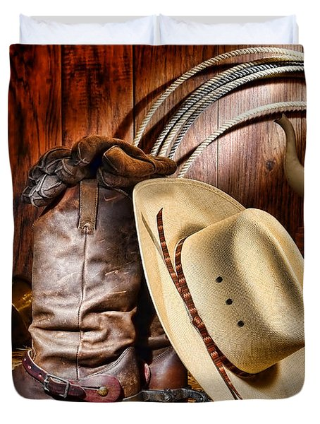 Duvet Cover featuring the photograph Cowboy Gear by Olivier Le Queinec
