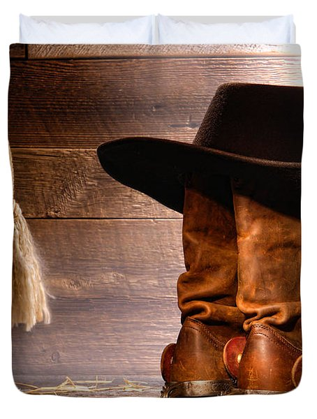 Cowboy Hat On Boots Duvet Cover