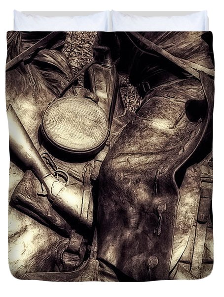 Cowboy In Bronze Duvet Cover