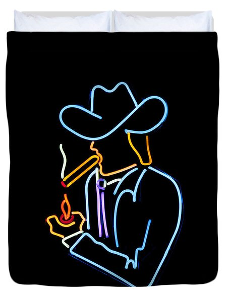 Cowboy In Neon Duvet Cover by Art Block Collections