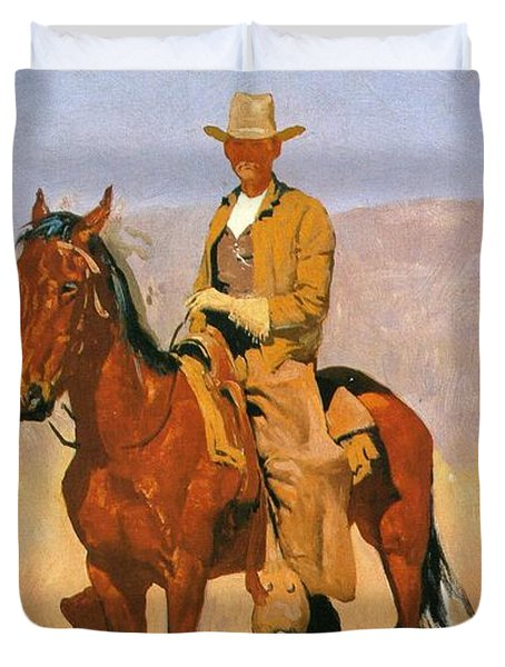 Cowboy Mounted On A Horse Duvet Cover by Frederic Remington