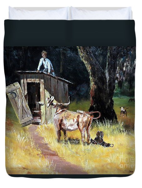 Cowboy On The Outhouse  Duvet Cover by Lee Piper