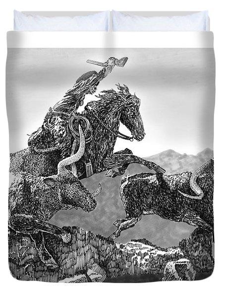 Cowboys And Longhorns Duvet Cover by Jack Pumphrey