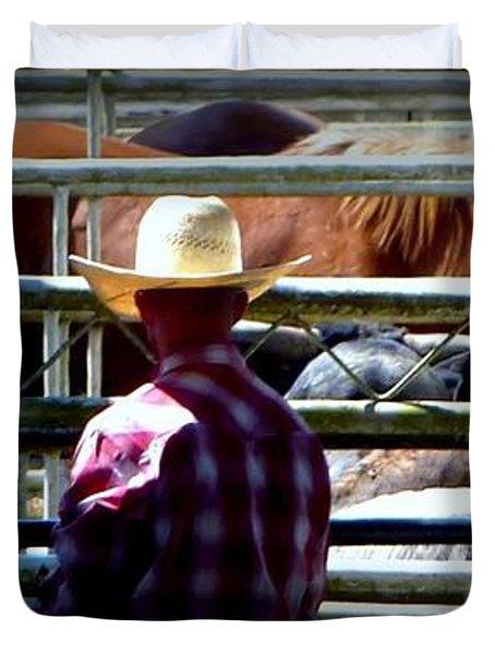 Duvet Cover featuring the photograph Cowboys Corral by Susan Garren