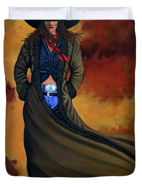 Cowgirl Dust Duvet Cover by Lance Headlee