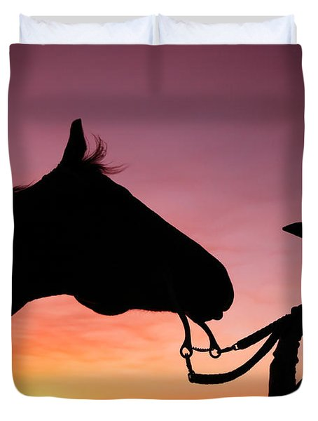 Cowgirl Sunset Duvet Cover by Todd Klassy